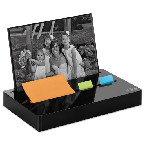 """Pop-up Note/Flag Dispenser Plus Photo Frame with 3 x 3 Pad, 50 1"""" Flags, Black. Picture 1"""