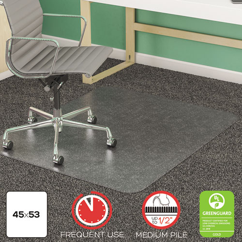 SuperMat Frequent Use Chair Mat, Med Pile Carpet, 45 x 53, Beveled Rectangle, Clear. Picture 1