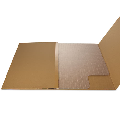 EconoMat Occasional Use Chair Mat for Low Pile Carpet, 45 x 53, Wide Lipped, Clear. Picture 4