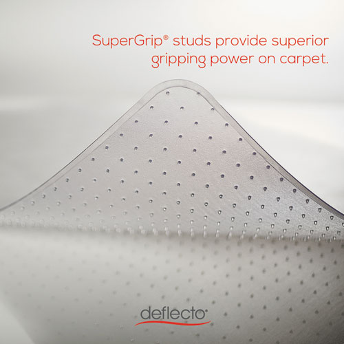 SuperMat Frequent Use Chair Mat, Med Pile Carpet, 45 x 53, Beveled Rectangle, Clear. Picture 4
