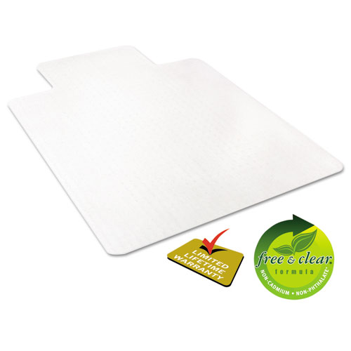 EconoMat Occasional Use Chair Mat for Low Pile Carpet, 45 x 53, Wide Lipped, Clear. Picture 5
