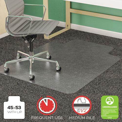 SuperMat Frequent Use Chair Mat for Medium Pile Carpet, 45 x 53, Wide Lipped, Clear. Picture 1