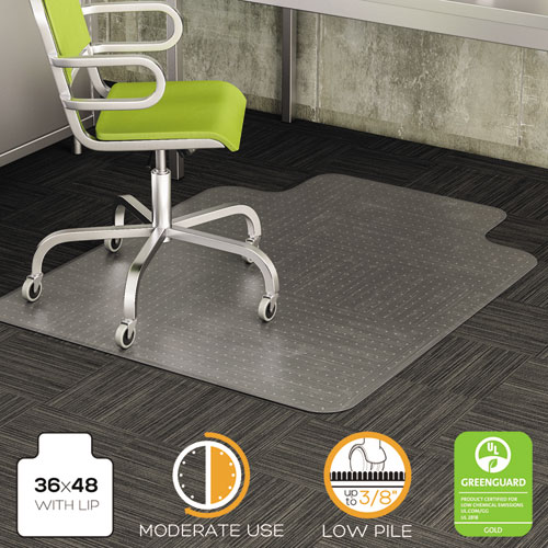 DuraMat Moderate Use Chair Mat, Low Pile Carpet, Flat, 36 x 48, Lipped, Clear. Picture 1