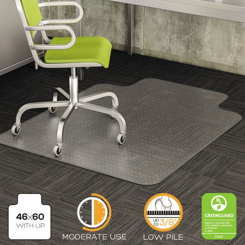 DuraMat Moderate Use Chair Mat for Low Pile Carpet, 46 x 60, Wide Lipped, Clear. Picture 5