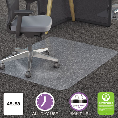 All Day Use Chair Mat - All Carpet Types, 45 x 53, Rectangle, Clear. Picture 3