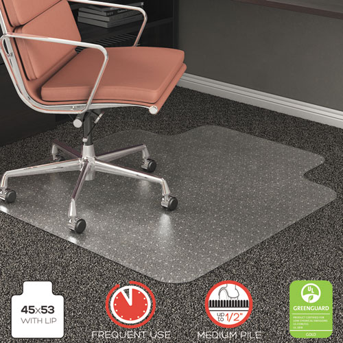 RollaMat Frequent Use Chair Mat, Med Pile Carpet, Flat, 45 x 53, Wide Lipped, Clear. Picture 7