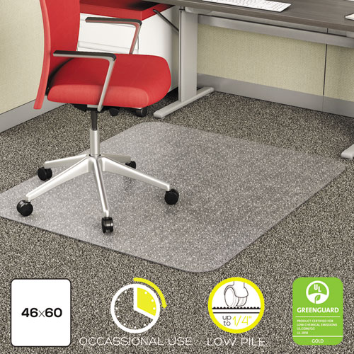 EconoMat Occasional Use Chair Mat, Low Pile Carpet, Flat, 46 x 60, Rectangle, Clear. Picture 1