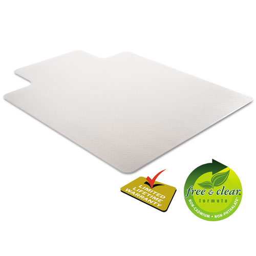 DuraMat Moderate Use Chair Mat, Low Pile Carpet, Flat, 36 x 48, Lipped, Clear. Picture 7