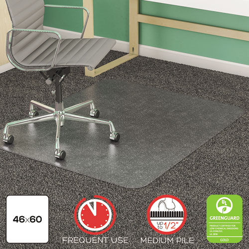 SuperMat Frequent Use Chair Mat, Medium Pile Carpet, Flat, 46 x 60, Rectangle, Clear. Picture 1