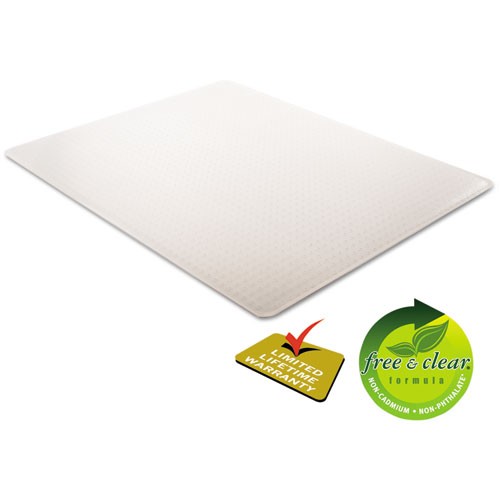 SuperMat Frequent Use Chair Mat, Med Pile Carpet, 45 x 53, Beveled Rectangle, Clear. Picture 7
