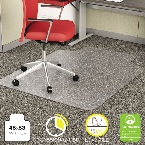 EconoMat Occasional Use Chair Mat for Low Pile Carpet, 45 x 53, Wide Lipped, Clear. Picture 8