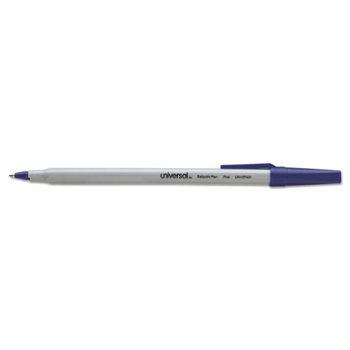 Ballpoint Pen, Stick, Fine 0.7 mm, Blue Ink, Gray Barrel, Dozen. Picture 2
