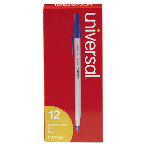 Ballpoint Pen, Stick, Fine 0.7 mm, Blue Ink, Gray Barrel, Dozen. Picture 1