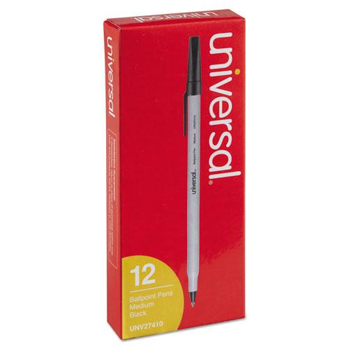 Stick Ballpoint Pen, Medium 1mm, Black Ink, Gray Barrel, Dozen. Picture 2