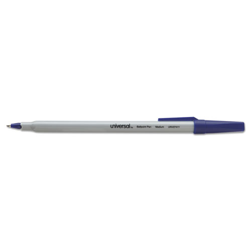 Stick Ballpoint Pen, Medium 1mm, Blue Ink, Gray Barrel, Dozen. Picture 1