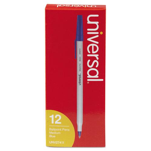 Stick Ballpoint Pen, Medium 1mm, Blue Ink, Gray Barrel, Dozen. Picture 3