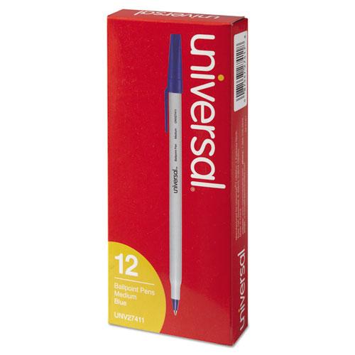 Stick Ballpoint Pen, Medium 1mm, Blue Ink, Gray Barrel, Dozen. Picture 4