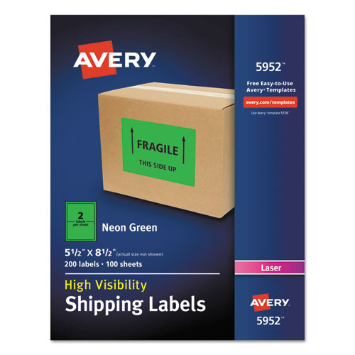 avery neon shipping label laser 5 1 2 x 8 1 2 neon for avery labels