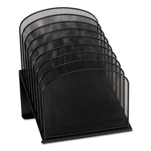 """Onyx Mesh Desk Organizer with Tiered Sections, 8 Sections, Letter to Legal Size Files, 11.75"""" x 10.75"""" x 14"""", Black. Picture 1"""