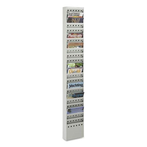 Steel Magazine Rack, 23 Compartments, 10w x 4d x 65.5h, Gray. Picture 3