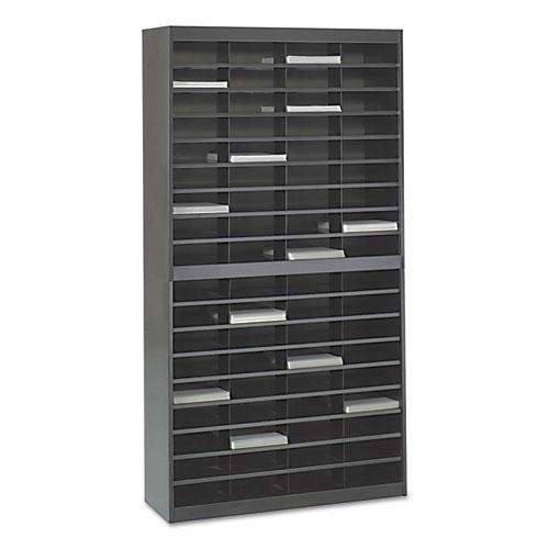 Steel/Fiberboard E-Z Stor Sorter, 72 Sections, 37 1/2 x 12 3/4 x 71, Black. Picture 2