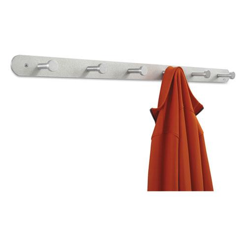 Nail Head Wall Coat Rack, Six Hooks, Metal, 36w x 2.75d x 2h, Satin. Picture 3