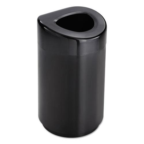 Open Top Round Waste Receptacle, Steel, 30 gal, Black. Picture 2