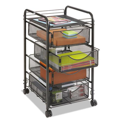 Onyx Mesh Mobile File With Four Supply Drawers, 15.75w x 17d x 27h, Black. Picture 4