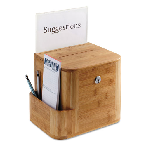 Bamboo Suggestion Box, 10 x 8 x 14, Natural. Picture 2