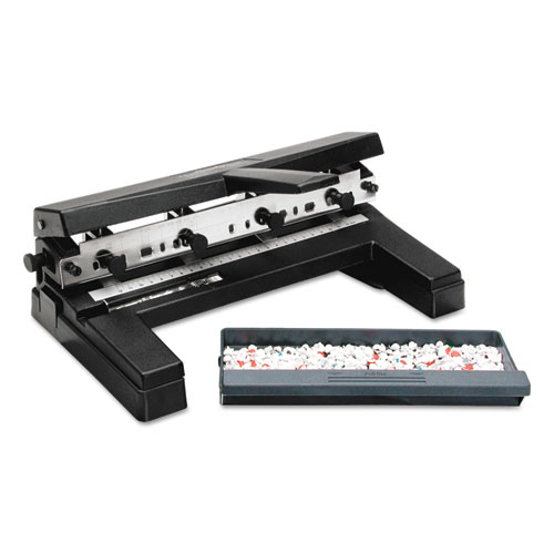 """40-Sheet Two-to-Four-Hole Adjustable Punch, 9/32"""" Holes, Black. Picture 2"""