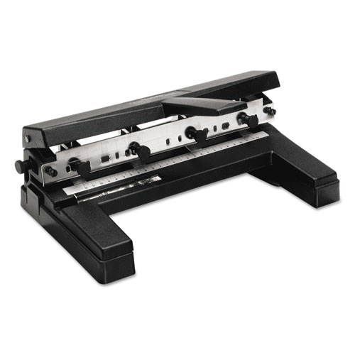 """40-Sheet Two-to-Four-Hole Adjustable Punch, 9/32"""" Holes, Black. Picture 1"""