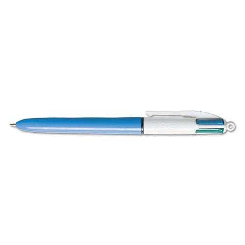 4-Color Retractable Ballpoint Pen, 1 mm, Black/Blue/Green/Red Ink, Blue Barrel. Picture 1