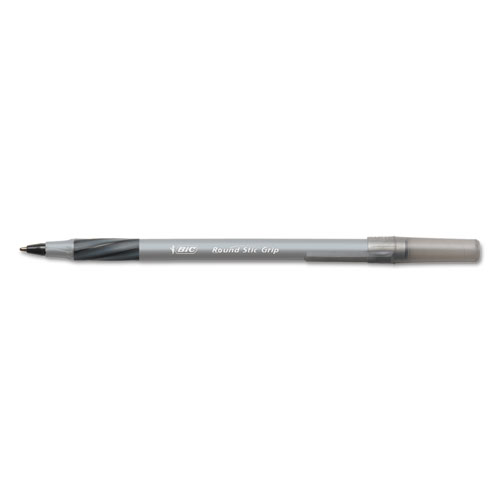 Round Stic Grip Xtra Comfort Ballpoint Pen, Stick, Fine 0.8 mm, Black Ink, Gray/Black Barrel, Dozen. Picture 1