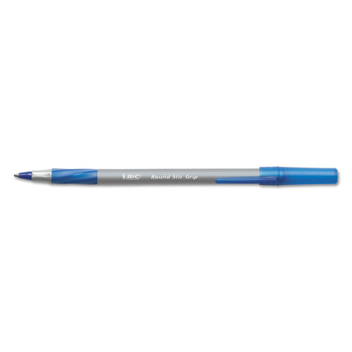 Round Stic Grip Xtra Comfort Ballpoint Pen, Easy-Glide, Stick, Medium 1.2 mm, Blue Ink, Gray/Blue Barrel, Dozen. Picture 1