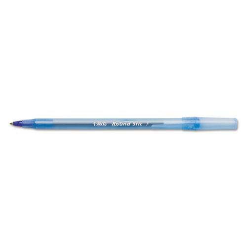 Round Stic Xtra Precision Ballpoint Pen, Stick, Fine 0.8 mm, Blue Ink, Translucent Blue Barrel, Dozen. Picture 2