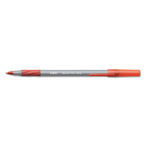 Round Stic Grip Xtra Comfort Stick Ballpoint Pen, 1.2mm, Red Ink, Gray Barrel, Dozen. Picture 1