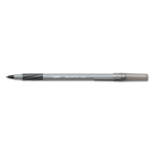 Round Stic Grip Xtra Comfort Stick Ballpoint Pen, 1.2mm, Black Ink, Gray Barrel, Dozen. The main picture.