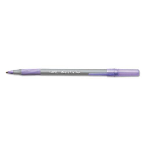 Round Stic Grip Xtra Comfort Stick Ballpoint Pen, 1.2mm, Purple Ink, Gray Barrel, Dozen. Picture 1