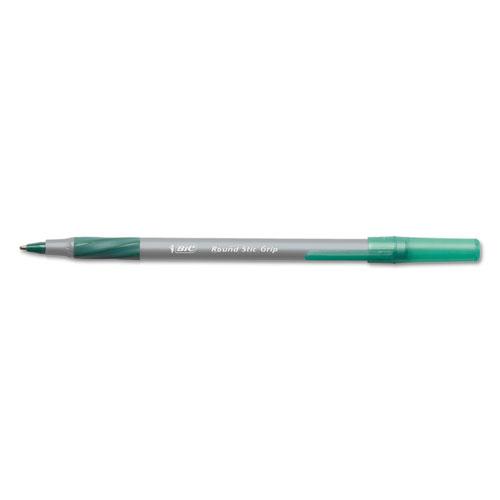 Round Stic Grip Xtra Comfort Ballpoint Pen, Easy-Glide, Stick, Medium 1.2 mm, Green Ink, Gray/Green Barrel, Dozen. Picture 1