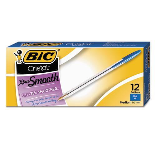 Cristal Xtra Smooth Stick Ballpoint Pen, 1mm, Blue Ink, Clear Barrel, Dozen. Picture 2