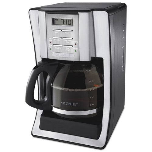 Mr Coffee Pro Coffee Maker : 12-Cup Programmable Coffeemaker, Black/Brushed Silver