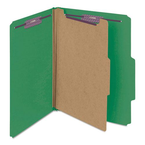 Four-Section Pressboard Top Tab Classification Folders with SafeSHIELD Fasteners, 1 Divider, Letter Size, Green, 10/Box. Picture 6