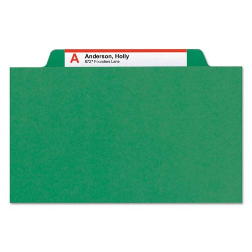 Four-Section Pressboard Top Tab Classification Folders with SafeSHIELD Fasteners, 1 Divider, Letter Size, Green, 10/Box. Picture 9