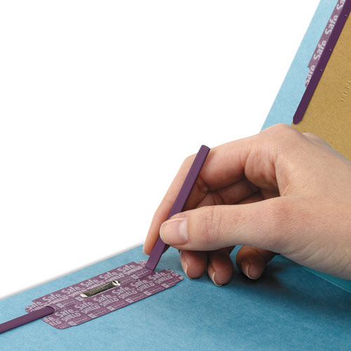 End Tab Colored Pressboard Classification Folders with SafeSHIELD Coated Fasteners, 2 Dividers, Letter Size, Blue, 10/Box. Picture 3