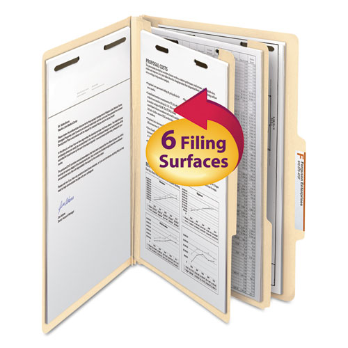 Manila Four- and Six-Section Top Tab Classification Folders, 2 Dividers, Legal Size, Manila, 10/Box. Picture 1
