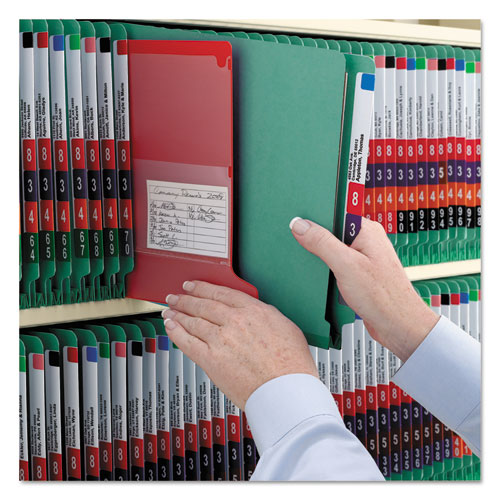 End Tab Colored Pressboard Classification Folders with SafeSHIELD Coated Fasteners, 2 Dividers, Legal Size, Green, 10/Box. Picture 6