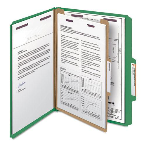 Four-Section Pressboard Top Tab Classification Folders with SafeSHIELD Fasteners, 1 Divider, Letter Size, Green, 10/Box. Picture 10