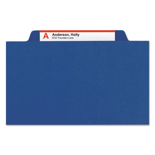 6-Section Pressboard Top Tab Pocket-Style Classification Folders w/ SafeSHIELD Fasteners, 2 Dividers, Legal, Dark Blue, 10/BX. Picture 4