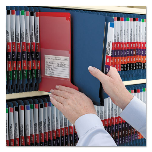 End Tab Colored Pressboard Classification Folders with SafeSHIELD Coated Fasteners, 2 Dividers, Legal Size, Dark Blue, 10/Box. Picture 6