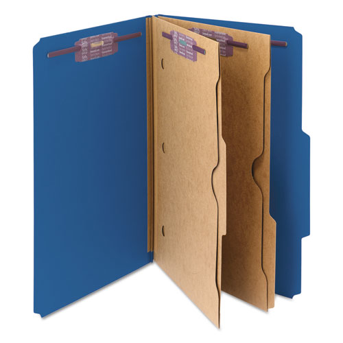 6-Section Pressboard Top Tab Pocket-Style Classification Folders w/ SafeSHIELD Fasteners, 2 Dividers, Legal, Dark Blue, 10/BX. Picture 5
